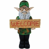 Duck Dynasty Uncle Si Gnome - Garden Welcome Sign Of Commander