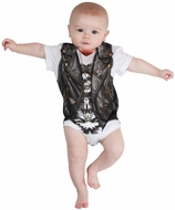 Faux Real Infant Biker Romper Baby Body Suit