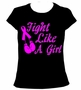 Fight Like a Girl Cancer Ribbon Pink Womens Ladies T-Shirt