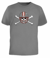 Football Skull Skeleton Helmet Bones Funny Tee T-Shirt