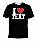 I Heart Love Custom Personalized Text Name Idea Word Tee T-Shirt