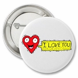 I Love You Smiley Face Heart Cute Valentine's Button