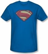 Superman Man of Steel Solid Shield Blue T-Shirt