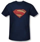 "Superman Man Of Steel New Solid Shield ""S"" Logo Navy T-Shirt"