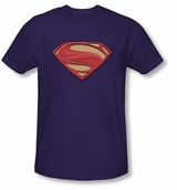 New Superman Man of SteelSolid Shield Logo purple T-Shirt