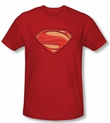 Man Of Steel New Solid Shield Superman Logo Tee T-Shirt