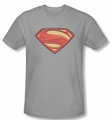 Man Of Steel Superman Logo Silver T-Shirt