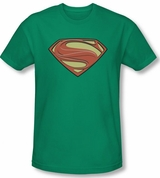 Man of Steel New Solid Shield Green Superman T-Shirt