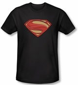 Superman Man of Steel New Solid Shield Black T-Shirt