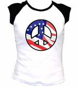 Peace Symbol United States Flag USA Woman's Fit T-SHIRT