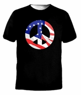 Peace Symbol Vintage United States Flag USA Tee T-shirt