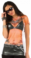 PhotoRealistic Black Leather Tattoos T-Shirt