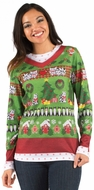 PhotoRealistic Ladies Ugly Christmas Sweater T-Shirt