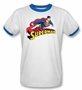 Superman Flying Over Logo Ringer T-Shirt