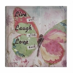 Live Laugh Love Butterfly Canvas Wall