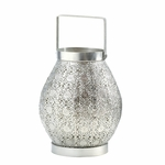 Silver Lace Design Candle Lantern