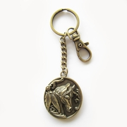 Antique Bronze Western Horse Oval Charm Key Ring Key Chain