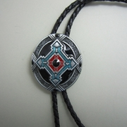 Jeansfriend New Western Celtic Cross Knot Oval Bolo Tie Leather Necklace