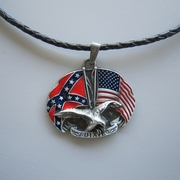 Leather Necklace Eagle With Flag Metal Charm Pendant Necklace