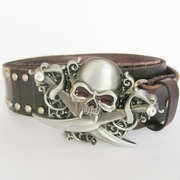 Emo Gothic Skull Brown Studded Genuine Leather Belt
