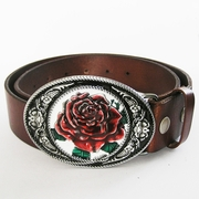 Leather Belt For Men Oval Western Flower Real Leather Belt