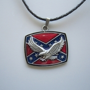 Leather Necklace Western Eagle Flag Metal Pendant Charm Necklace