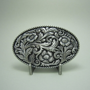 New Silver Plating Western Flowers Oval Belt Buckle
