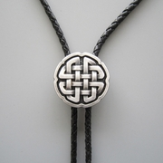 Original Antique Real Silver Plated Celtic Cross Knot Bolo Tie Necklace