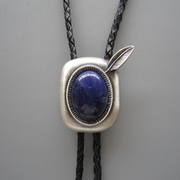 Silver Plated Blue plessite Stone Western Bolo Tie