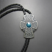 Silver Plated Vintage Keltic Celtic Blue Iron Cross BoloTie