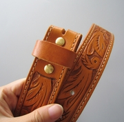 Light Coffee Hand Crafted Western Flowers Solid Real Leather Belt With Brass Screws