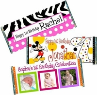 1st Birthday Candy Bar Wrappers and Candy Bar Favors