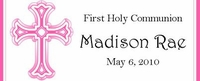COM-31CW Pink Cross First Holy Communion Candy Wrappers