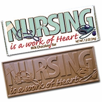 """Nursing is a Work of Heart"" Chocolate Bars - (case of 50)"