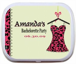 Personalized Mint Tins - Pink & Black Leopard Teddy