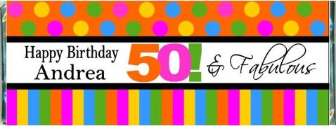 50 And Fabulous Birthday Candy Bar Favors Birthday