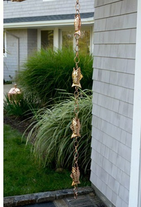 Fish Rain Chain 8.5 ft Polished Copper- by Good Directions
