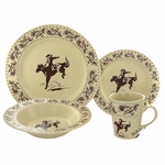 Bucking Bronco Cowboy Cream 16 Piece Dinner Set