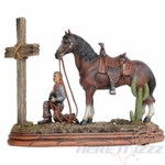 Praying Cowboy & Horse at Cross