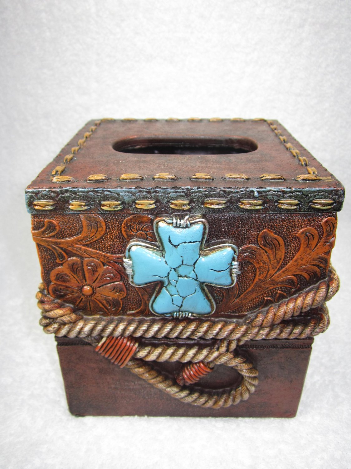 Turquoise Cross w Rope Tissue Box Cover