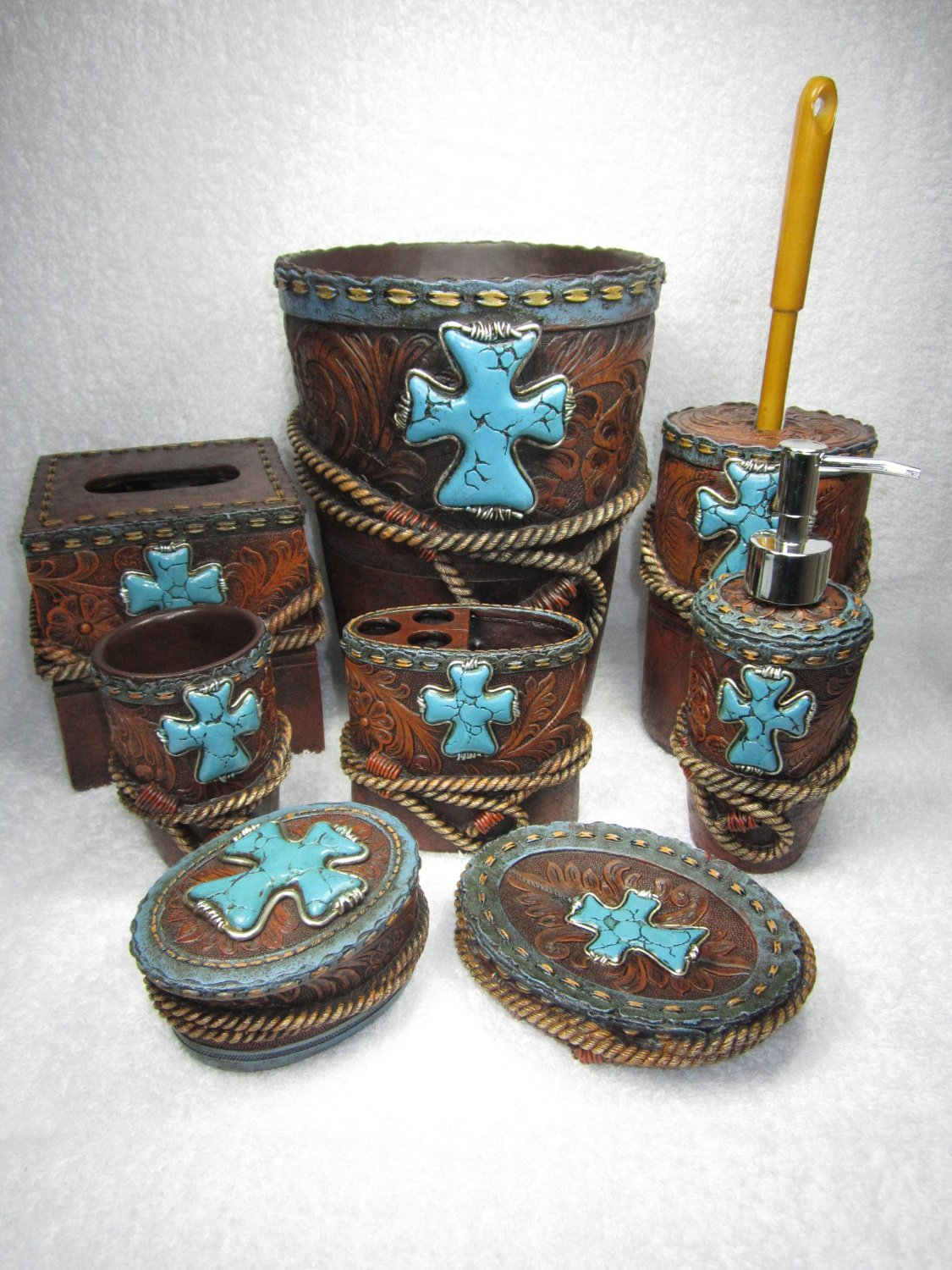 Western Turquoise Cross With Rope Bathroom Set