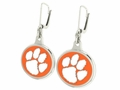 Clemson Tigers Silver Enamel Earrings