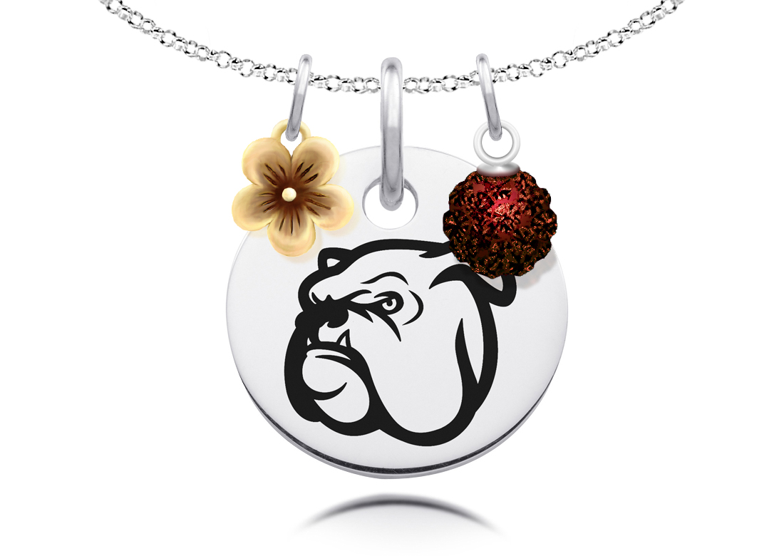 Mississippi State Bulldogs Necklace with Flower and Crystal Ball Accents