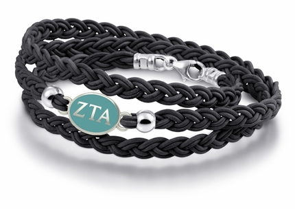 Zeta Tau Alpha Black Leather Bracelet