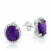 Amethyst Oval CZ Halo Sterling Silver Earrings