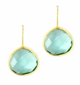 Aquamarine Quartz Gemstone Yellow Gold Sterling Silver Earrings
