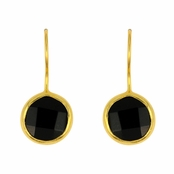 Black Onyx Faceted Round Gemstone Yellow Gold Sterling Silver Earrings