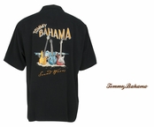 Black Sound Waves Signature  Silk Camp Shirt by Tommy Bahama