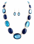 Blue Faceted Oval Jewel Lined Necklace and Earrings Set