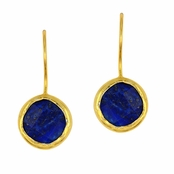Blue Lapis Faceted Round Gemstone Yellow Gold Sterling Silver Earrings
